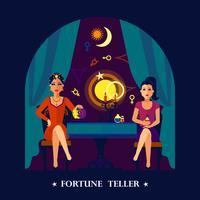 Fortune Teller Cristal Ball Flat Illustration