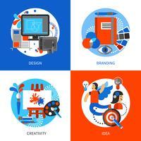 Kreativa konceptkoncept ikoner uppsättning vektor