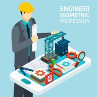 Professionell ingenjörs koncept isometrisk banner