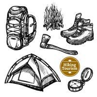 Turism Camping Vandring Skiss Set vektor