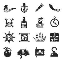 Piraten schwarze Icons Set
