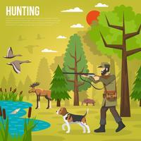 Flache Ikonen mit dem Jäger, der Enten anstrebt