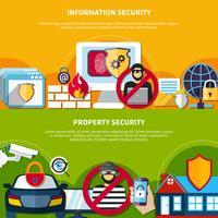 Säkerhet och säkerhet Banners Set