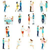 Menschen verlieben sich in Icon Set