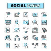 sociala medier linje ikoner uppsättning