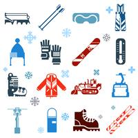 Flache monochrome Ski-Icons mit Schneeflocken vektor