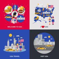 Flaches Ikonen-Quadrat der USA-Kultur 4
