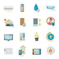 smart house flat icons set