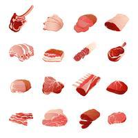Köttprodukter Ikoner Set