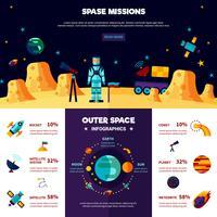 Weltraum-Missionen-flache Banner-Zusammensetzung