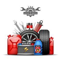 Bil Service Sammansättning Annons Flat Illustration