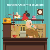 Arbetsplatsen för guldsmedillustrationen