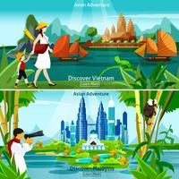 Vietnam och Malaysia Travel Compositions vektor