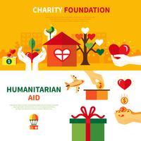 välgörenhetsstiftelser 2 platta banderoller vektor