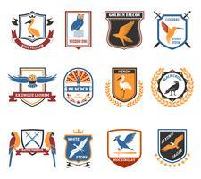 Vögel Embleme Flache Ikonen-Sammlung vektor