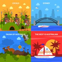 Australien Koncept Ikoner Set