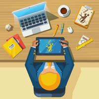 Arbeitsplatz Designer Flat Icon Poster vektor