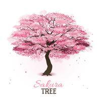 Realistischer Sakura-Baum vektor