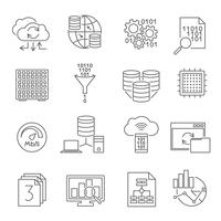 Database Analytics Line Icons Set