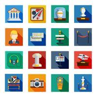Museum flache quadratische Icon-Set