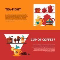 Kaffe och Tea 2 Banners Design vektor