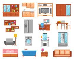 Möbler isolerad ikonuppsättning vektor