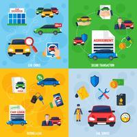 Autohändler 4 flache Icons Square
