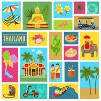 Thailand mit Ziegeln gedecktes Plakat vektor