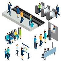 Metro-U-Bahnstation-isometrische Zusammensetzungsfahne