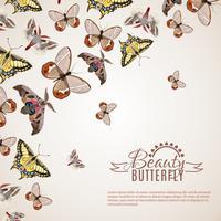 Schmetterling realistischer Hintergrund vektor