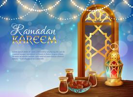 Ramadan Kareem Traditionell Festlig Mataffisch vektor
