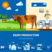 Mjölkproduktionsuppsättning vektor