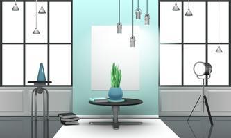 Realistisches Loft-Interieur in hellen Tönen