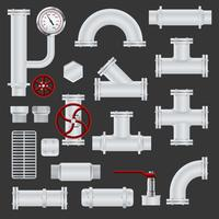 Realistische Pipeline-Elemente vektor