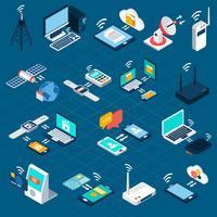 Trådlösa teknologier isometriska ikoner