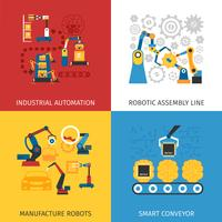 Industrial Assembly Line 4 Flat Icons