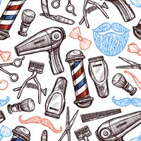 Barber Shop Attribute Doodle Seamless Pattern