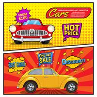 Verkäufe von Autos Comic Style Banner vektor