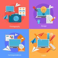 Set av plana fyrkantiga designkoncept ikoner