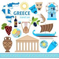 Griechenland-Symbol-touristische Satz-flache Zusammensetzung