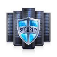 Server Rack Security Shield Realistische Abbildung vektor