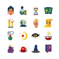 Wahrsagerin Attribute flache Icons Set