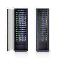 Två Black Server Racks Realistisk Illustration