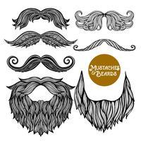 Handdragen Dekorativ Skägg och Mustasch Set vektor