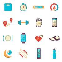 fitness tracker platt färg ikoner