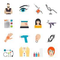 Ikoner inställda med bodyart tatueringspiercing och specialutrustning vektor