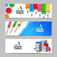 Målarverktyg Banners Set vektor