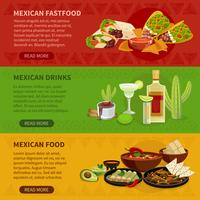 Mexikansk mat 3 Horisontell bannersats