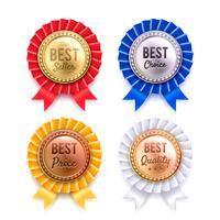 Fyra Runda Metallic Premium Badges Set vektor