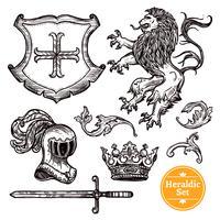 Heraldische Symbole Set Black Doodle Sketch vektor